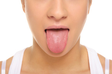 Woman stick ones tongue out