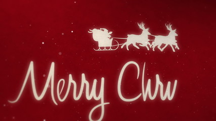 Santa with reindeers and MERRY CHRISTMAS letters