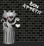 Feline Bon Appetit message on urban brick wall poster