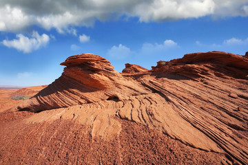 The picturesque cliffs of red sandstone.