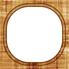 Portaritratto arrotondato in legno antico su sfondo bianco