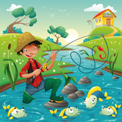 Fisherman and fish in the river. Vector scene.