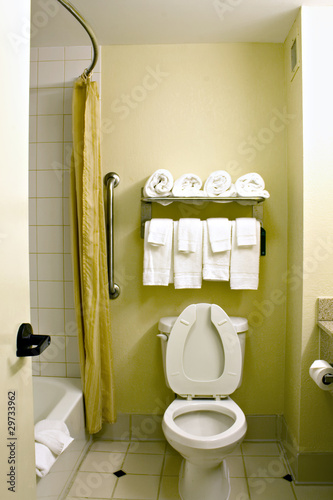 """Simple hotel bathroom"" Stock photo and royalty-free ..."