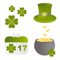 set of 4 st. patrick's day  icons