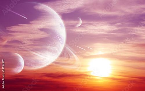 Leinwanddruck Bild Sunset in alien planet