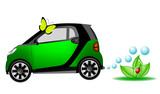 Beautiful eco car, ecology concept poster