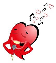 Vector illustration. Valentine heart and microphone