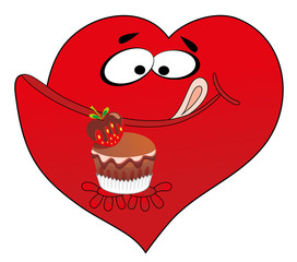 Vector illustration. Heart and cake