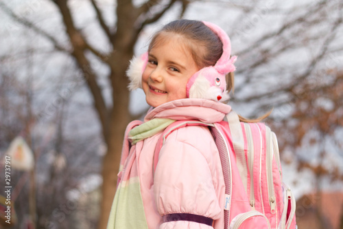 Happy Schoolgirl Outdoor.Back to School.