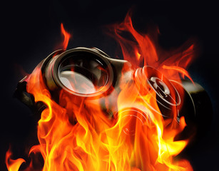 Gas mask flames