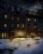 Zimowa noc na wiktoriańskiej ulicy