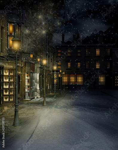 Wiktoriańskie miasteczko nocą - 29739755