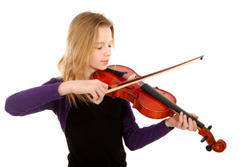 Girl is playing the violin over white background