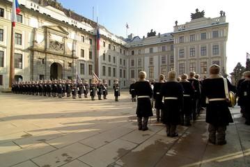 République Tcheque, Prague : Relève de la garde au chateau
