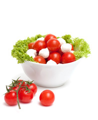 bowl with mozzarella,tomatoes and green salad leafs