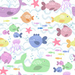 seamless pattern with happy fishes
