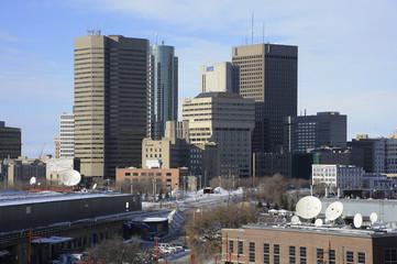 Downtown Winnipeg in winter, Manitoba, Canada