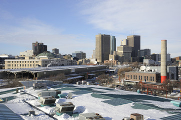 Downtown Winnipeg in winter, Manitoba, Canada