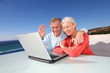 Senior couple waving at webcamera on laptop computer