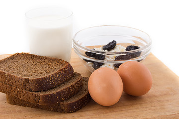 Milk, eggs, bread and cottage cheese