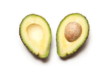 Hass avocado isolated on a white studio background.