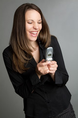 Laughing Woman Texting