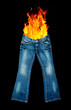 jeans on fire
