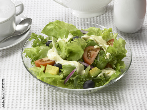 Mix salad with Mayonnaise.