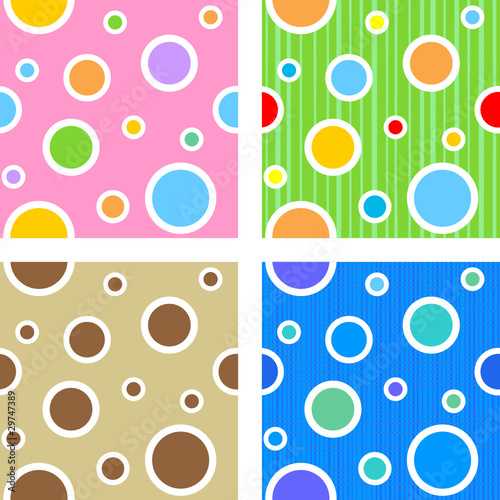 Seamless (easy to repeat) circles and dots patterns