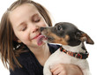 Girl getting kisses from dog
