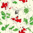 Cranberries and bee seamless pattern