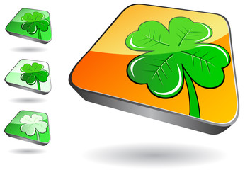 3d icon set with green clover