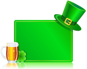card with hat, beer and clover. St Patrick's day