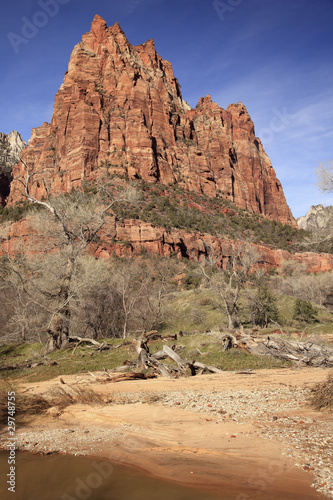 Tuinposter Canyon Court of Patricarchs Virgin River Zion Canyon National Park Utah