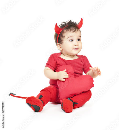 asian baby boy in a red fancy dress