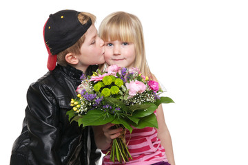 Boy and Girl with flower