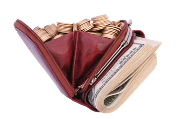 Brown leather purse full of coins and bank-paper.