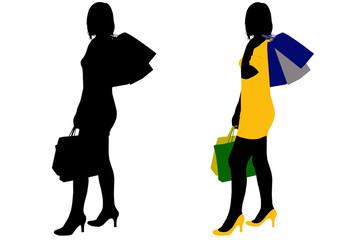 Women shopping isolated