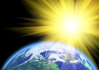 Fine mother Earth and rising sun over it