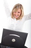 Thrilled young woman with laptop poster