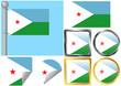 Flag Set Djibouti