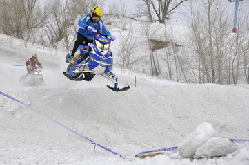 Russia, Samara, snowmobile racing, January 30, 2011, airborne