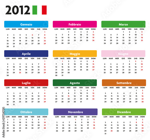 Base calendario italiano con festività 2012 Color