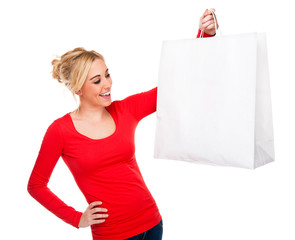 Beautiful Woman Holding White Shopping Bag With Copy Space