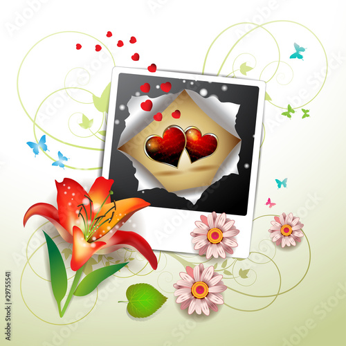 Photo with hearts, flowers and butterflies for Valentine's day