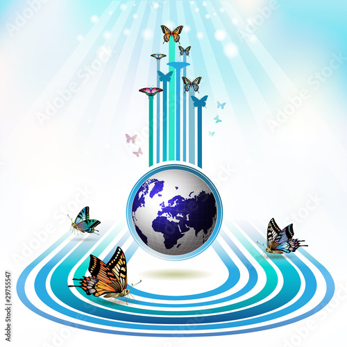 Springtime background with butterflies around the Earth