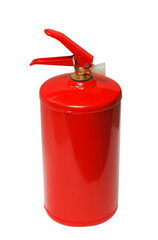 Red fire extinguisher on white background (isolated)
