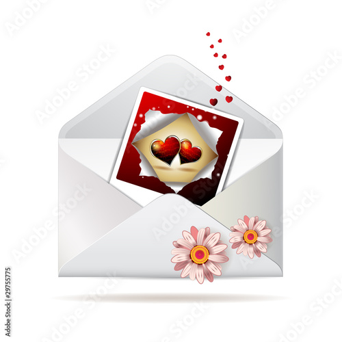 Envelope with daisy and photo with hearts for Valentine's day