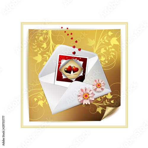 Envelope and photo with hearts over decorated gold paper