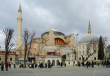 Tourists waking in front of Hagia Sophia